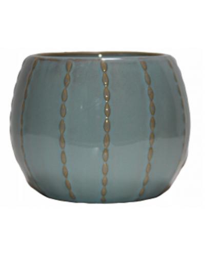 Doniczka okrągła osłonka ceramiczna NIEBIESKA 10cm