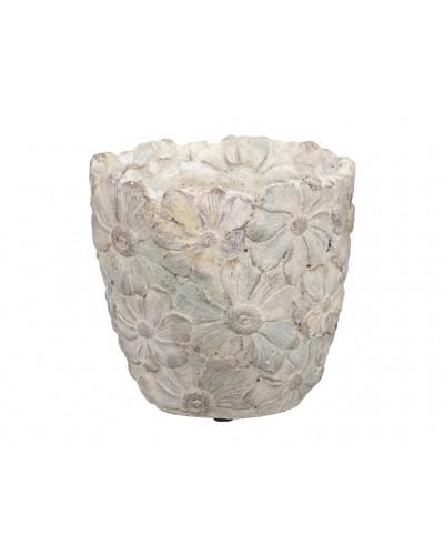 Doniczka osłonka cementowa KWIATOWA 15 cm