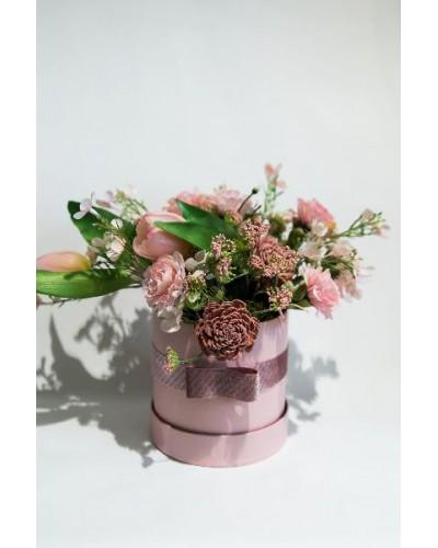 FLOWER BOX WELUROWY WIOSENNY RÓŻ