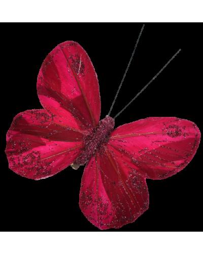 Motyl Z Klipsem Bordowy